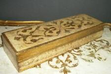Italian Florentine Gilt Wood Long Glove Box Chic Hollywood Regency Shabby Glam