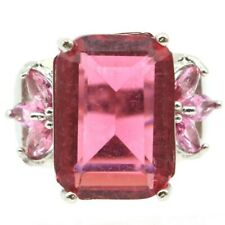 Tourmaline Gift Silver Ring 7.75 Big Rectangle Gemstone 18x13mm Pink