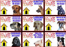 Beware Of The Dog Signs On Guard Various Breeds set1