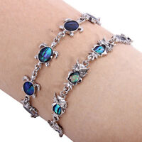 Multicolor Sea Turtle Bracelet Silver Color Metal Chain Lobster Clasp Women Gift