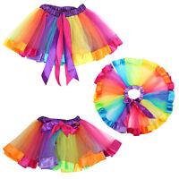 Short Girls Kids Skirt Tulle Dance Ballet Toddler Rainbow Bow Fancy Tutu Dress