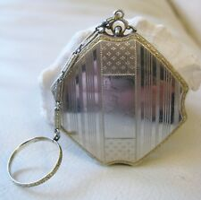 Antique Silver Belais 14K White Gold Plate Romeo & Juliet Compact R&G Co LA MODE