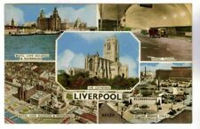 LIVERPOOL 5 VIEWS, HARVEY-BARTON CARD,MERSEY TUNNEL,ROYAL LIVER BLDG,WLLM BROWN