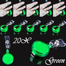 LOT 20 Clip Retractable Reel ID Badge Holder Key Chain Reels With Metal Green FD