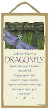 """ADVICE FROM A DRAGONFLY Primitive Wood Hanging Sign 5"""" x 10"""""""