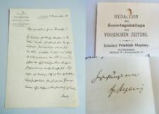 VOSSISCHE ZEITUNG, Friedrich STEPANY: Brief BERLIN 1910 an Physiker Ernst GEHRKE