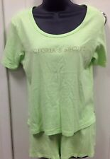 Victoria's Secret Size Small Shorty Pajama Set PJ's Green Knit 100% Cotton K107