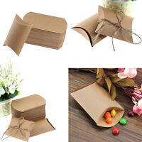 50x Cute Kraft Paper Pillow favor Box Wedding Party Favour Candy Boxes