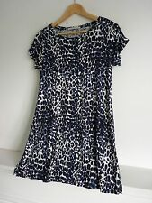 Ladies Lovely George Blue Mix Leopard Print Hip Length Stretch Top Size 10, Vgc