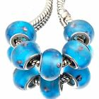 5 Silver Plated Blue Lampwork Murano Glass Beads European Fit Charm Bracelets