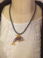 Adorable Glass Dolphin pendant necklace on Hematite beaded chain
