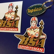 BSA SPORTSMAN Motorcycle Retro Classic Stickers Decals 85mm  2 off