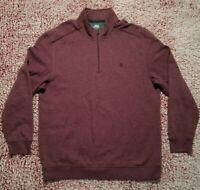 Izod Saltwater Zip Pullover Sweatshirt Relaxed Classics Mens XL Maroon