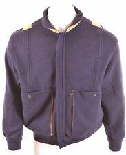 LES COPAINS Mens Cardigan Sweater Medium Blue Wool Vintage EX07