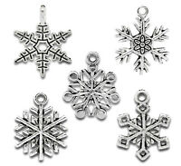 Wholesale Lots Mixed Silver Tone Christmas Snowflake Charm Pendants Accessories