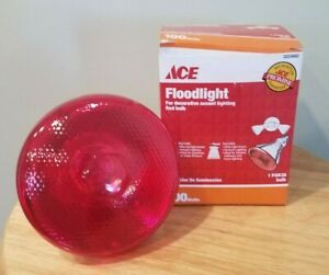 ACE 100W Floodlight Red Decorative Accent Lighting PAR38 Bulb; #3203692/NIP