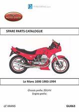 Moto Guzzi parts manual book Le Mans 1000 1983, 1984, 1985, 1986, 1987 & 1988