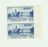Germany. Scarce Baden Stamp: 1949 Congress Pair with Misprint