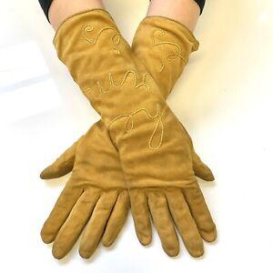 100% Auth Vtg Hermès Soutache Spell-out Camel Long Suede Leather Gloves sz 7