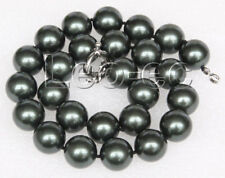 "18"" 16mm Tahitian black round south sea shell pearls necklace 18KGP clasp V94"