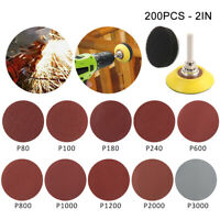 "200Pcs 2"" Sanding Discs Sandpaper Hook Loop + Sanding Pad with Shank Tool Set CA"