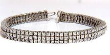 $11000 5.50ct natural round brilliant diamonds three row tennis bracelet 14kt