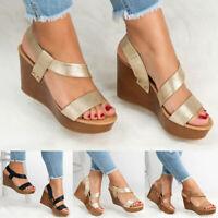 Fashion Women's Wedge Heel Open Toe Slingback Sandals Casual Shoes Size 5-8.5