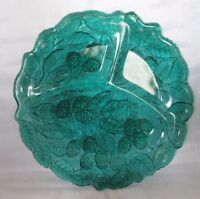 Blue Green Glass Grapes & Leaves 3 section Plate