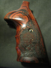 Smith Wesson N-Frame Checkered/Engrv Rosewood ROUND-BUTT ONLY FG OS Grips w/LOGO