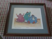 Custom Framed South Western Art Print 3 Ladies Knitting Signed Numbered