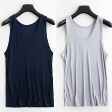 d104778b878264 Men Pure Silk Vest Tank Tops Under Shirts Casual Soft Singlet Solid  Sleeveless