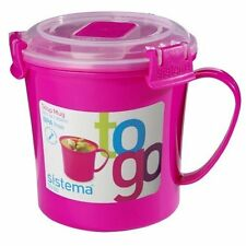 Sistema Pink Plastic Take Away Soup Mug To Go Lunch Cup with Sealed Lid