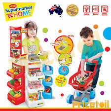 New Large Kids Supermarket Pretend Play Set Cash Register Shopping Trolley Toy