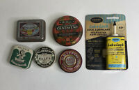 LOT OF 6 ANTIQUE & VINTAGE SMALL ADVERTISING TINS MEDICINE, POLISH, OIL, TYPE
