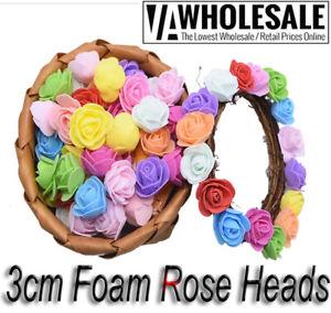 100 Pcs Colourfast Foam Roses Artificial Flower Wedding Bride Bouquet Prom Party