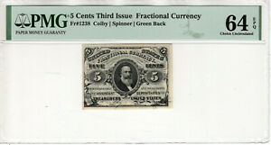 5 CENT THIRD ISSUE FRACTIONAL POSTAL CURRENCY FR.1238 PMG CHOICE UNC 64 EPQ(032)