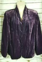 Lane Bryant Purple Crushed Velvet Blazer Jacket Rayon Silk Womens 24