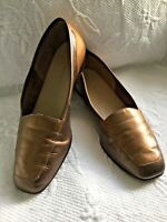 ENZO ANGIOLINI 7.5M Bronze/Gold Leather SquareToe Loafer Flats Leather Sole