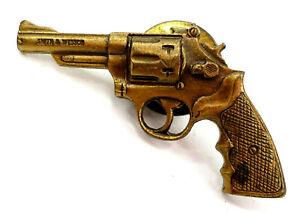 Vtg. Smith & Wesson Clutch Back Pin Hat Vest Trucker Hunter Pistol Bronze Toned