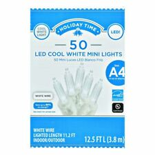 Holiday Time 50 Led COOL White Mini Lights WHITE WIRE Set Christmas Fairy String