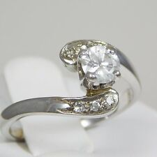 14kt White Gold Diamond Engagement Cross Over Ring
