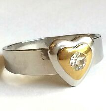 Size 11 Cubic Zirconia Love Promise Silver Stainless Steel Heart Cocktail Ring