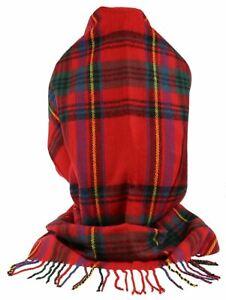 Winter Womens Long Scarf Tartan Print Scottish Wool Wrap Shawl Soft Blanket