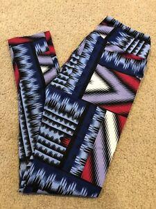 OS LuLaRoe One Size Leggings Geometric Tile Striped Black Gray Purple Red NEW