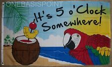 3'x5' It's 5 O'clock Somewhere Party Flag Outdoor Beach Parrot Five Happy 3x5