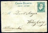 BRAZIL TO GERMANY BAHIA Cancel on Front Postal Stationery 1887 VERY NICE!