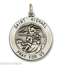 """STERLING SILVER NECKLACE St Saint Michael Medal Pendant Charm 20"""" box CHAIN NEW"""