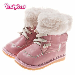 Girls Toddler Childrens Leather Squeaky Boots - Lace Fleece - Chilled Pink