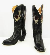 MISS CAPEZIO WEST Black Leather Flower Inlays Western Boots Size 6 1/2 M
