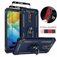 For LG Stylo 5 Plus Armor Stand Case Cover+Full Tempered Glass Screen Protector
